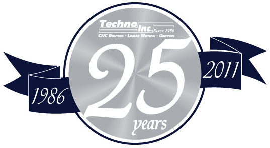 Techno, Inc. is celebrating 25 years of CNC Router and Linear Automation Technology. Visit any of our Web sites to view product information, request application assistance or catalogs, view technical articles, videos and more! www.techno-isel.com. Quality products at affordable prices!""